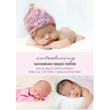 Baby Girl Announcements 5x7 Cards, Premium Cardstock 120lb with Rounded Corners, Card & Stationery -Baby Pink Collage