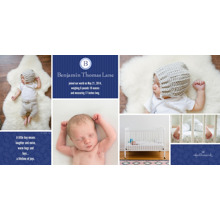 Baby Boy Announcements Flat Matte Photo Paper Cards with Envelopes, 4x8, Card & Stationery -Monogram Photo Grid - Blue