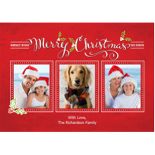 Christmas Photo Cards 5x7 Cards, Premium Cardstock 120lb with Scalloped Corners, Card & Stationery -Christmas Calligraphy Collage