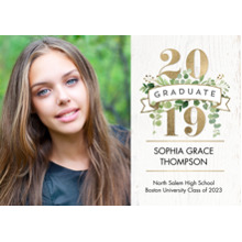 2019 Graduation Announcements 5x7 Cards, Premium Cardstock 120lb with Rounded Corners, Card & Stationery -Graduate 2019 Floral Banner by Tumbalina
