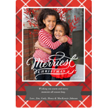 Christmas Photo Cards 5x7 Cards, Premium Cardstock 120lb with Elegant Corners, Card & Stationery -Merriest Christmas Plaid