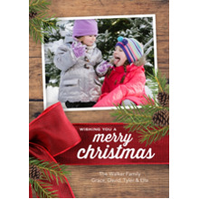 Christmas Photo Cards 5x7 Cards, Premium Cardstock 120lb with Rounded Corners, Card & Stationery -Christmas Velvet Ribbon