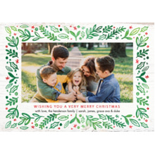 Christmas Photo Cards 5x7 Cards, Premium Cardstock 120lb with Elegant Corners, Card & Stationery -Christmas Rustic Border by Tumbalina