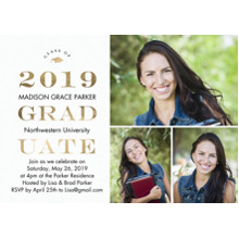 2019 Graduation Announcements 5x7 Cards, Premium Cardstock 120lb with Rounded Corners, Card & Stationery -2019 Graduate Gold by Tumbalina