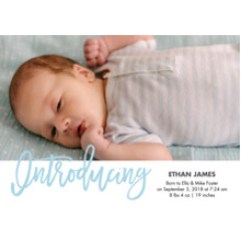 Baby Boy Announcements Flat Matte Photo Paper Cards with Envelopes, 5x7, Card & Stationery -Baby Introducing Blue