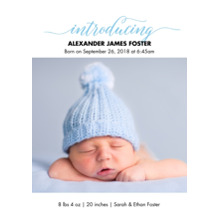 Baby Boy Announcements 5x7 Cards, Premium Cardstock 120lb with Rounded Corners, Card & Stationery -Baby Blue Introducing