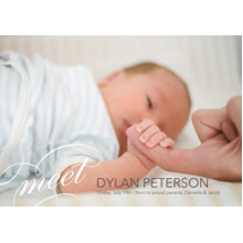 Baby Announcements 5x7 Cards, Premium Cardstock 120lb with Rounded Corners, Card & Stationery -Elegant Introduction