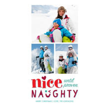 Christmas Photo Cards 4x8 Flat Card Set, 85lb, Card & Stationery -Nice Until Proven Naughty