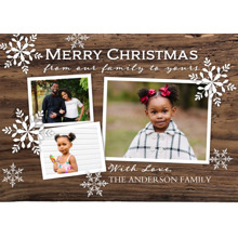 Christmas Photo Cards 5x7 Cards, Premium Cardstock 120lb with Rounded Corners, Card & Stationery -Christmas Woodgrain Snowflakes