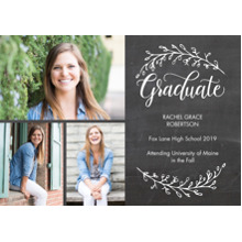2019 Graduation Announcements 5x7 Cards, Premium Cardstock 120lb with Rounded Corners, Card & Stationery -Graduate Branches by Tumbalina