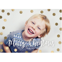 Christmas Photo Cards 5x7 Cards, Premium Cardstock 120lb with Elegant Corners, Card & Stationery -Christmas Gold Dots