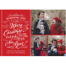 Christmas Photo Cards 5x7 Cards, Premium Cardstock 120lb with Rounded Corners, Card & Stationery -Christmas Wishes Swirls