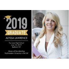 2019 Graduation Announcements 5x7 Cards, Premium Cardstock 120lb with Rounded Corners, Card & Stationery -Graduation 2019 Cap by Tumbalina