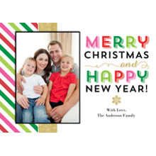 Christmas Photo Cards 5x7 Cards, Premium Cardstock 120lb with Scalloped Corners, Card & Stationery -Christmas Gold Colorful Stripes