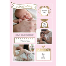 Baby Girl Announcements 5x7 Cards, Premium Cardstock 120lb with Elegant Corners, Card & Stationery -Baby Banner Details