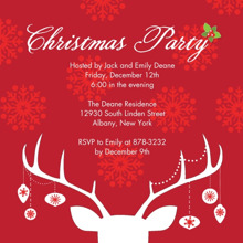 Christmas Party Invitations 5x5 Flat Card Set, 85lb, Card & Stationery -Christmas Invite Hanging Ornaments