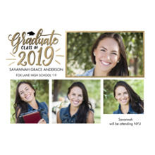 2019 Graduation Announcements 5x7 Cards, Premium Cardstock 120lb with Rounded Corners, Card & Stationery -Graduate 2019 Gleaming by Tumbalina