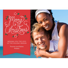 Christmas Photo Cards 5x7 Cards, Premium Cardstock 120lb with Rounded Corners, Card & Stationery -Festive Flowers