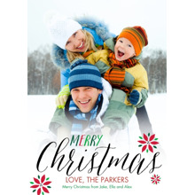 Christmas Photo Cards 5x7 Cards, Premium Cardstock 120lb with Rounded Corners, Card & Stationery -Floral Christmas by Posh Paper