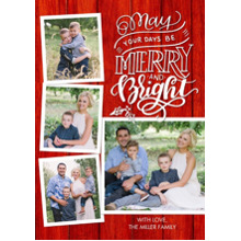 Christmas Photo Cards 5x7 Cards, Premium Cardstock 120lb with Elegant Corners, Card & Stationery -Christmas Rustic Merry and Bright