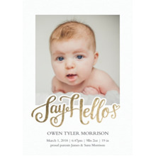 Baby Boy Announcements Flat Glossy Photo Paper Cards with Envelopes, 5x7, Card & Stationery -Baby Say Hello