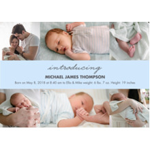 Baby Boy Announcements Flat Glossy Photo Paper Cards with Envelopes, 5x7, Card & Stationery -Baby Blue Collage