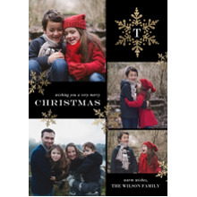 Christmas Photo Cards 5x7 Cards, Premium Cardstock 120lb with Scalloped Corners, Card & Stationery -Christmas Initial Snowflake