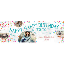 Birthday 2x6 Peel, Stick & Reuse Banner, Home Decor -Confetti Confecion