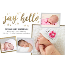 Baby Boy Announcements 5x7 Cards, Standard Cardstock 85lb, Card & Stationery -Baby Gold Hello