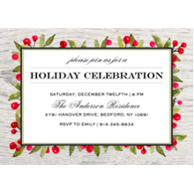 Christmas Party Invitations 5x7 Cards, Premium Cardstock 120lb with Scalloped Corners, Card & Stationery -Holiday Invite Rustic Berries