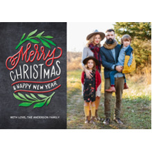 Christmas Photo Cards 5x7 Cards, Premium Cardstock 120lb with Rounded Corners, Card & Stationery -Christmas Merry Green Foliage