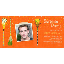 Birthday Party Invites 4x8 Flat Card Set, 85lb, Card & Stationery -Surprise Party Noise Maker