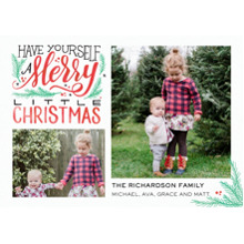 Christmas Photo Cards 5x7 Cards, Premium Cardstock 120lb with Elegant Corners, Card & Stationery -Christmas Merry Script