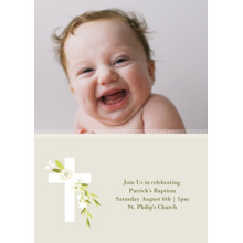 Christening + Baptism 5x7 Cards, Standard Cardstock 85lb, Card & Stationery -Botanical Cross