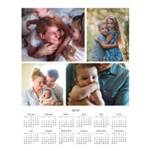 Calendar 11x14 Peel, Stick & Reuse, Home Decor -2019 Calendar - Multi Photo