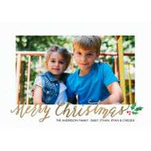 Christmas Photo Cards 5x7 Cards, Premium Cardstock 120lb with Rounded Corners, Card & Stationery -Christmas Rustic Holly
