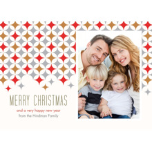 Christmas Photo Cards 5x7 Cards, Premium Cardstock 120lb with Elegant Corners, Card & Stationery -Star Pattern Merry Christmas