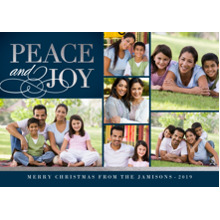 Christmas Photo Cards 5x7 Cards, Premium Cardstock 120lb with Rounded Corners, Card & Stationery -Elegant Peace & Joy