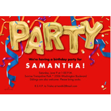 Birthday Party Invites 5x7 Cards, Premium Cardstock 120lb, Card & Stationery -Party Balloons