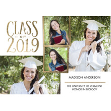 2019 Graduation Announcements 5x7 Cards, Premium Cardstock 120lb with Rounded Corners, Card & Stationery -Grad Class of 2019 Gold Frame by Tumbalina