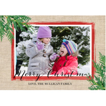 Christmas Photo Cards 5x7 Cards, Premium Cardstock 120lb with Scalloped Corners, Card & Stationery -Burlap With Greens by Gartner