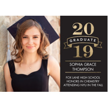 2019 Graduation Announcements 5x7 Cards, Premium Cardstock 120lb with Rounded Corners, Card & Stationery -2019 Simple Banner by Tumbalina