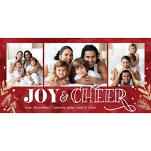 Christmas Photo Cards 4x8 Flat Card Set, 85lb, Card & Stationery -Christmas Joy and Cheer Gold by Tumbalina