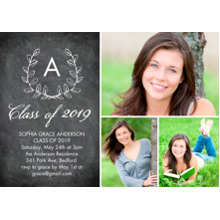 2019 Graduation Announcements 5x7 Cards, Premium Cardstock 120lb with Scalloped Corners, Card & Stationery -Grad 2019 Initial by Tumbalina