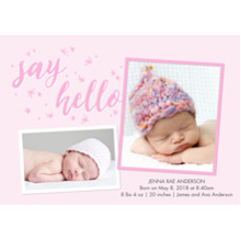 Baby Girl Announcements 5x7 Cards, Premium Cardstock 120lb with Elegant Corners, Card & Stationery -Baby Pink Stars