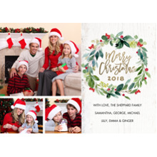 Christmas Photo Cards 5x7 Cards, Premium Cardstock 120lb with Elegant Corners, Card & Stationery -Christmas Wreath Watercolor by Tumbalina