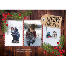 Christmas Photo Cards 5x7 Cards, Premium Cardstock 120lb with Rounded Corners, Card & Stationery -Christmas Pine Berries