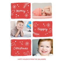Christmas Photo Cards 5x7 Cards, Premium Cardstock 120lb with Rounded Corners, Card & Stationery -Red Christmas Blocks