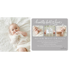 Baby Announcements Flat Matte Photo Paper Cards with Envelopes, 4x8, Card & Stationery -Hearts Full of Love - Gray