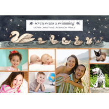 Christmas Photo Cards 5x7 Cards, Premium Cardstock 120lb with Rounded Corners, Card & Stationery -Seven Swans-a-Swimming